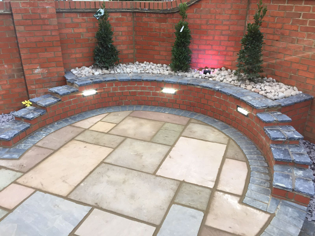 Garden design ideas - lit and raised planting bed