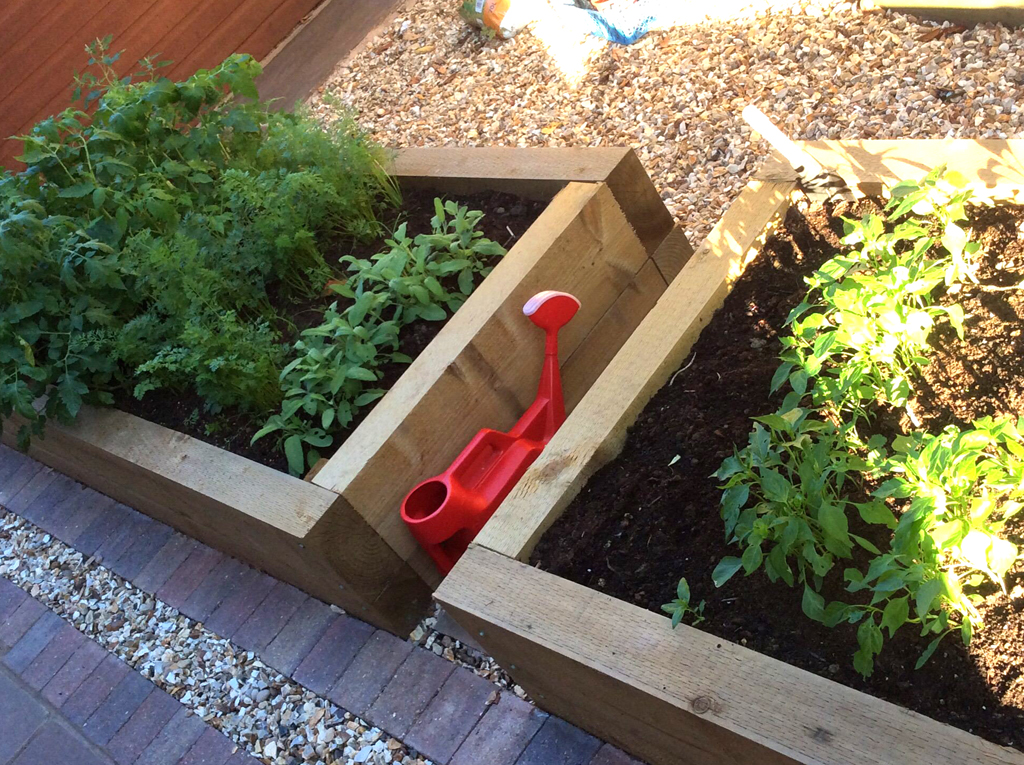 Raised beds sleeper construction vegetable and herb beds