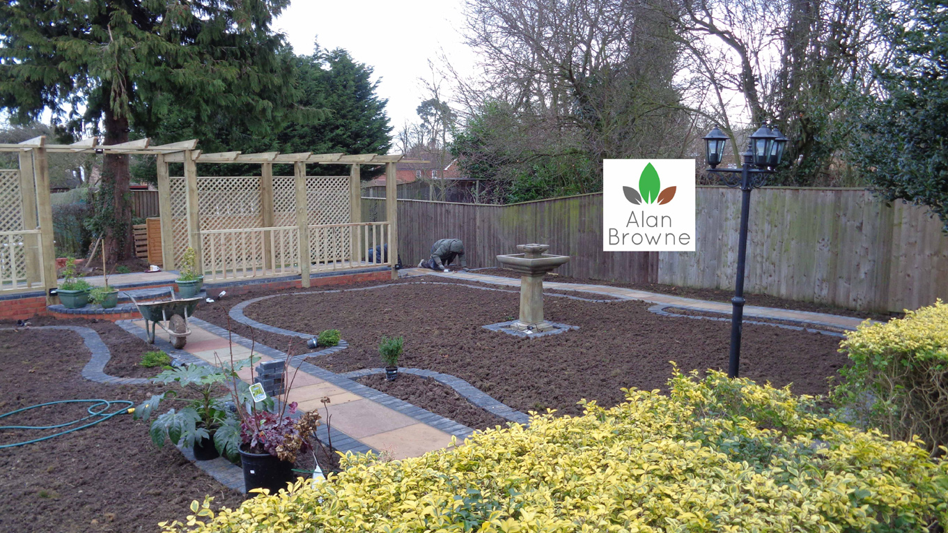 Traditional garden turfing, woodwork electrical and paving